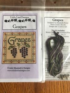 Grapes-Cross-Stitch-Little-Leaf-Elizabeth-039-s-Designs-Bee-Charms-Floss-OOP