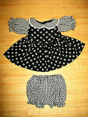 """BLACK /& WHITE GINGHAM FLOWER CALICO DRESS PANTY for 16-18/"""" CPK Cabbage Patch"""