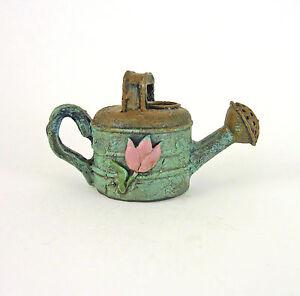 Dollhouse-Miniature-Fairy-Garden-Rustic-Blue-Watering-Can-w-Flower-Design