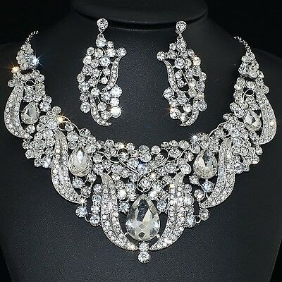 YT257 Clear Rhinestone Crystal Alloy Earrings Necklace Set Unbranded Bridal Gift