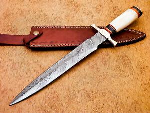 Rody-Stan-HAND-MADE-DAMASCUS-DAGGER-KNIFE-CAMEL-BONE-BRASS-GUARD-MP-6685