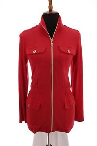 Chico-039-s-Travelers-Slinky-Acetate-Jacket-Cardigan-Zip-Up-Red-Womens-Sz-0-Small-4