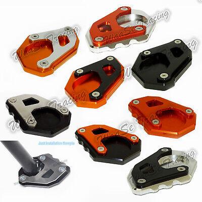 CNC Aluminium Motorcycle Kickstand Side Stand Extension Enlarger For KTM 1050 1090 1190 1290 Adventure ADV 1290 Super Adventure R Black-Orange