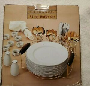 Elegance 51 Pc Buffet Set Gold Rimmed China Alco Industries NIB Never Used NOS