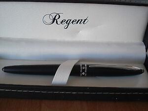 Stylo roller noir m t avec brillants regent special fetes des