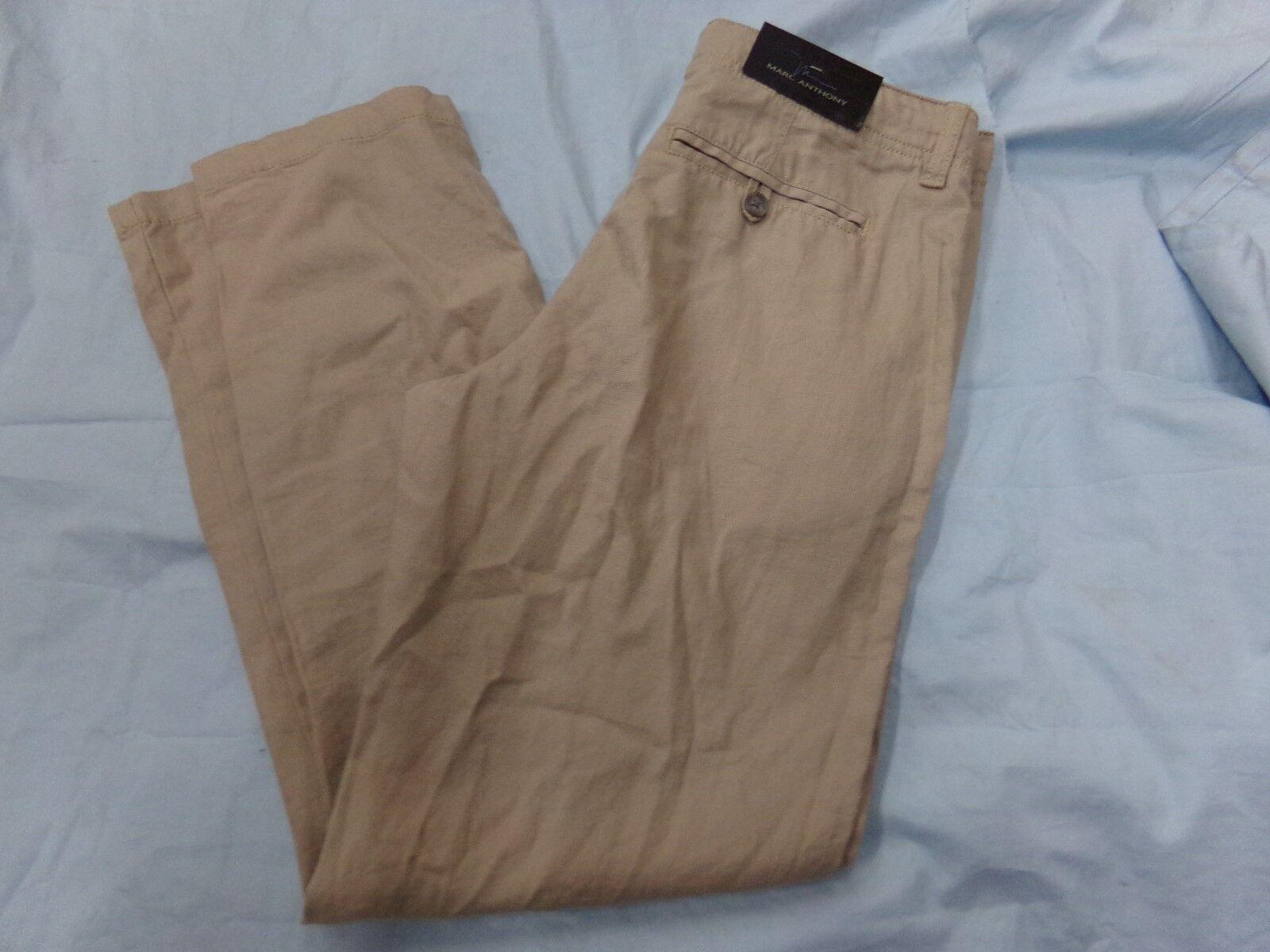 Mens Size 30x30 Marc Anthony Tan Linen Comfy Pants Slim Fit NEW