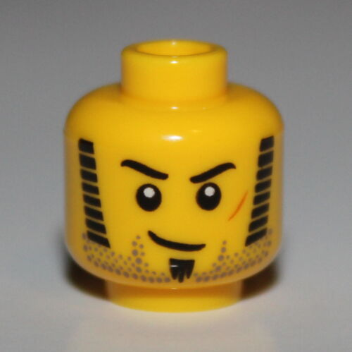 Lego Yellow Minifig Head Black Sideburns Red Scar Goatee Stubble NEW
