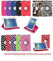 360 Rotating Smart Leather Case Cover With Stand For Samsung Tab 4 4th 7.0 7
