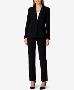 645-Tahari-Asl-Women-039-S-Black-Embellished-Shawl-Collar-One-Button-Blazer-Size-12