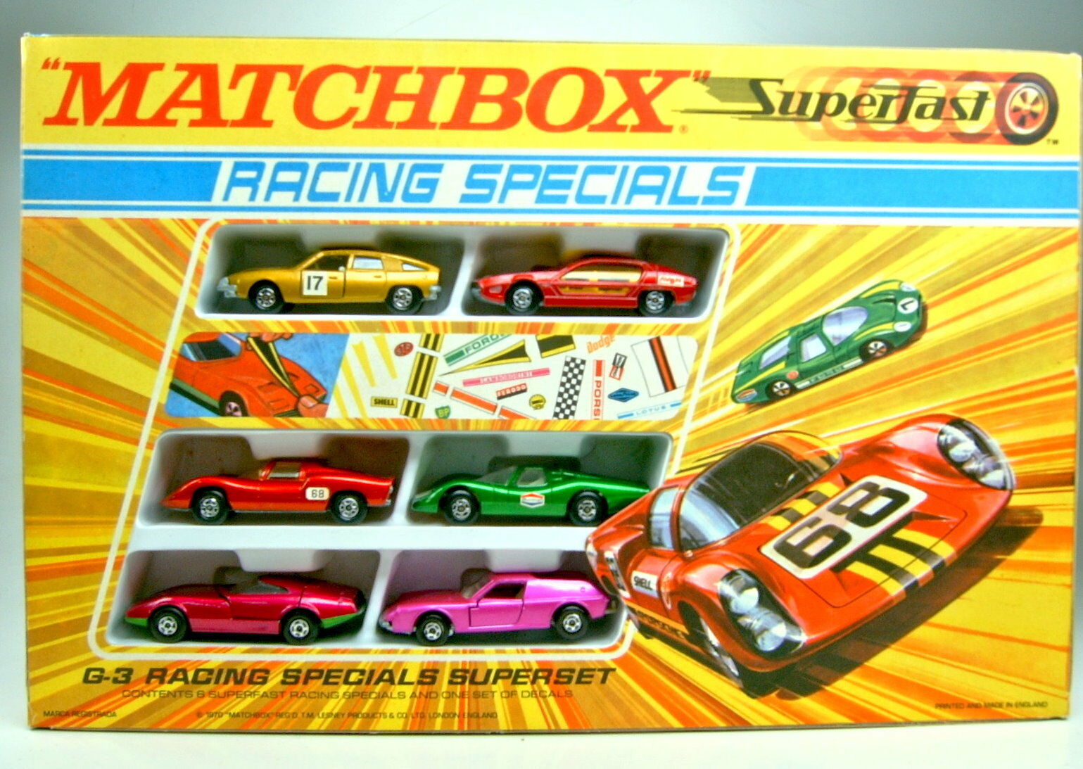 Matchbox Giftset g-3 Racing Specials Superset 1970 Complete