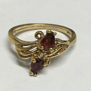 Yellow-Gold-Plated-Sterling-Silver-Garnet-Ring-Size-10