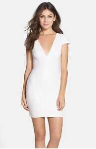 ab4577fdf580 DRESS THE POPULATION ZOE SEQUIN V-NECK BODY-CON WHITE DRESS sz XL