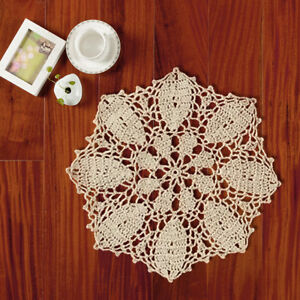 Beige-Round-Vintage-Hand-Crochet-Lace-Doily-Flower-Table-Placemat-10inch