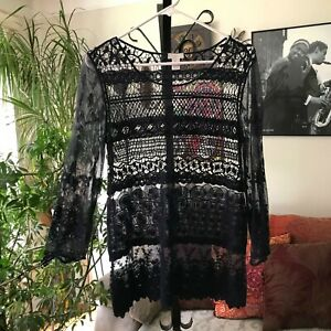 CHICO-039-S-sz-0-S-Navy-Blue-Embroidered-Tiered-Crochet-Lace-3-4-Sleeve-Top-Boho