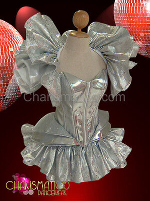 CHARISMATICO Three piece Silver set featuring Ruffled Skirt, shrug & Gaga Corset