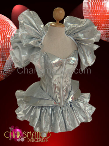 CHARISMATICO Three piece Silver set featuring Ruffled Skirt shrug /& Gaga Corset