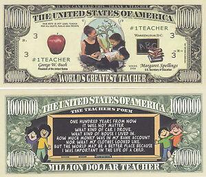 10 World's Greatest School Teacher Honorary Bills Lot
