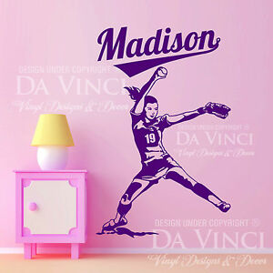 Image is loading Softball-Player-FastPitch-Pitcher-Wall-Custom-Girl-Name-