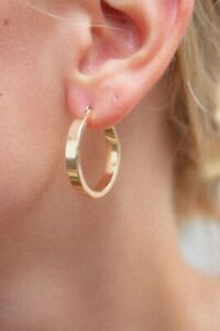 Details About Brandy Melville Thick Gold Fashion Hoops Earrings Nwt Os