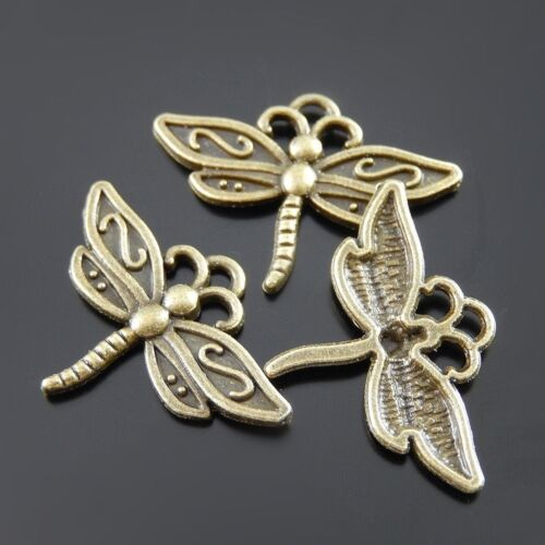 38091 Antiqued Bronze Vintage Alloy Vivid Dragonfly Insect Pendant Charms 90PCs