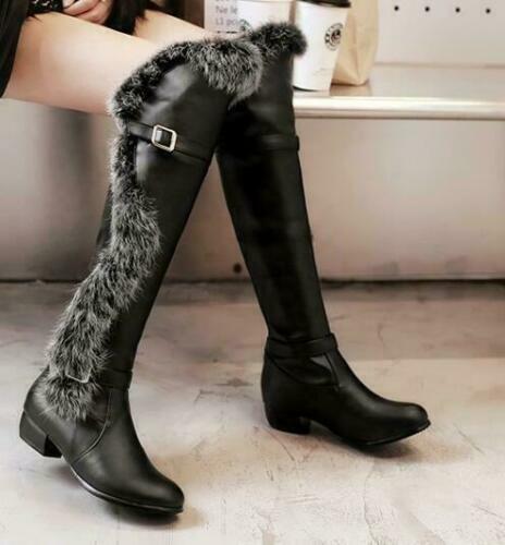 Fashion femme en fourrure synthétique d/'hiver au-dessus du genou bottes de neige à sangle et boucle Chaud Chaussures