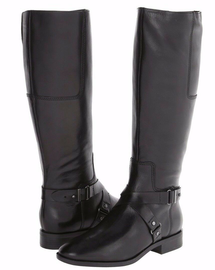 Nine West Blogger Black Leather Side Zip Riding Boots w/Strap Detail, 7M - 179
