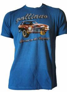 T-shirt-Casual-Manica-Corta-Uomo-100-Cotone-Maglietta-Stampata-GALLIANO-Blu-L-XL