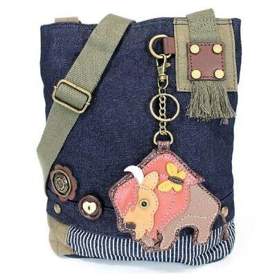 Denim Chala Womens Canvas Patch Crossbody Handbag Yorkshire Terrier