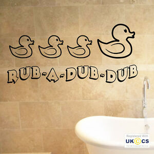 Image is loading Rub-A-Dub-Dub-Bathroom-Wall-Art-Stickers- & Rub A Dub Dub Bathroom Wall Art Stickers Decals Vinyl Decor Mural ...