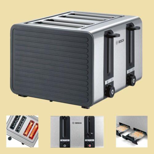 Edelstahl-grau//schwarz Bosch 4-Schlitz-Toaster TAT 7S45