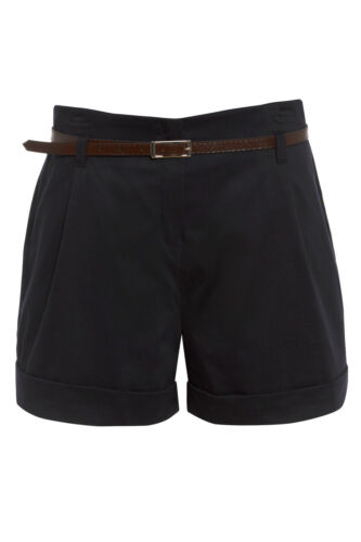 New WOMENS black//stone LADIES belted high waisted shorts hot pants sizes 12-20