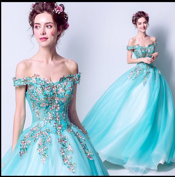Sexy élégant Fl Blau Broderie Dentelle mariée mariage robes de bal robes de bal