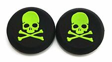 2 GREEN Skull Bones Silicone Thumb Stick Grips for XBOX ONE / 360, PS3 and PS4