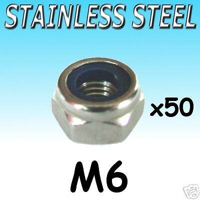 Stainless Steel NYLOCK lock NUTS nut M6 Marine etc 50pk