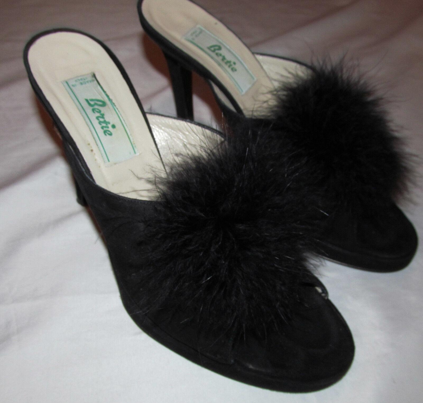 vintage BERTIE suede open toe high heel slides ostrich pop poms boudoir schuhe 40