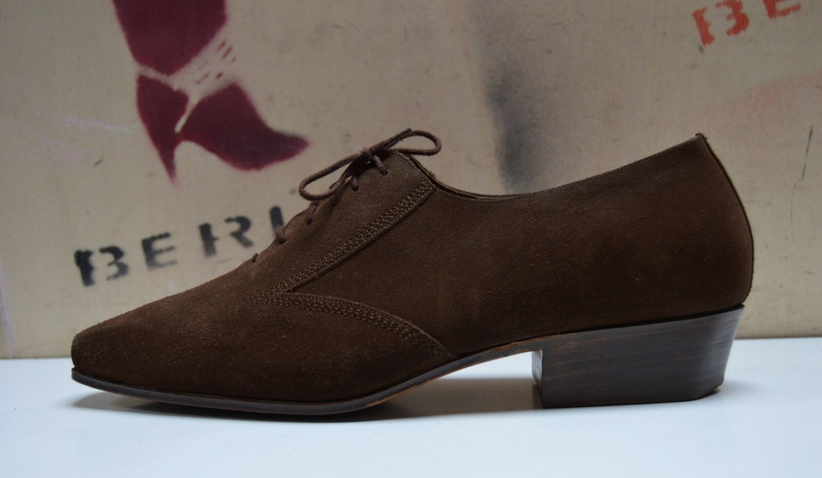 Hommes Chaussures Basses Chaussure Lacée 70er true vintage 70´s Marron rauhleder handmade