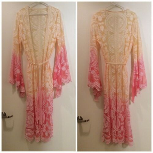 NEW KIMONO ROBE CARDIGAN BELL SLEEVE OMBRE YELLOW PINK MANTRA BOHO CHIC FESTIVAL
