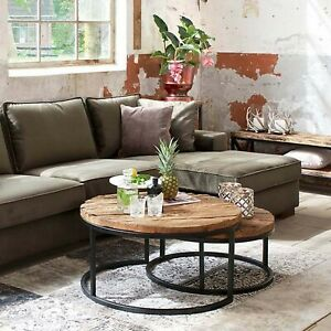 Details About Sleeper Wood Reclaimed Wooden Iron Nested Round Coffee Tables Set Two