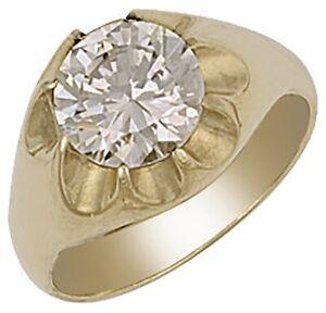 Gent-039-s-9ct-Yellow-Gold-Cubic-Zirconia-Men-039-s-Gypsy-Ring-7-grams-UK-Jewellers