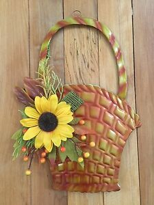 Autumn Fall Harvest Floral Sunflower Metal Basket Wall Art