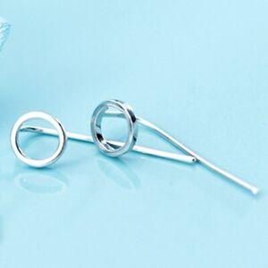 Damen-Ohrringe-Ohrhaenger-Durchzieher-925-Sterling-Silber-Kreis-Rund-Neu