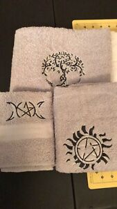 Embroidered-Wicca-Witch-Goddess-Ritual-Towel-Set-Of-Three
