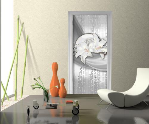Türtapete abstrakte Lilien grau silber Tür Türaufkleber Türbild Aufkleber