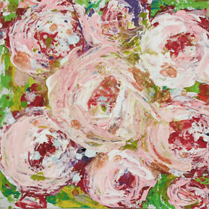 White Roses Floral Mini Painting Original Impasto Knife Art Katie Jeanne Wood