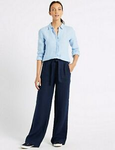 LADIES M/&S SIZES 14 OR 16 CHAMBRAY BLUE WIDE LEG COTTON LINEN TROUSERS FREE POST
