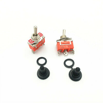 2sets Latching Toggle Switch 1121 3-Pin 2 Position ON-ON SPDT 15A 250VAC w Cap
