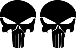 Punisher Skull 2er Set ca 7 cm x 9 cm DECUT DECAL JDM viele Farben ANSEHEN!