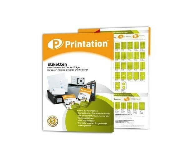 100x Blatt PRINTATION A4 selbstklebende weiße Etiketten 210x148,5mm (1x2)/DIN A5