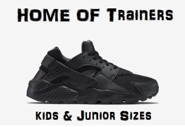 NIKE AIR HUARACHES RUN(GS)''BLACK OUT''KIDS JUNIOR TRAINER TRIPLE BLACK ALL SIZE