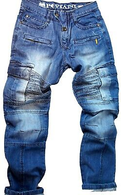 Mens combat jeans Peviani rock star denim hip hop cargo g stonewash urban slim